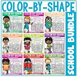Color By Shape Worksheets: School Bundle ~Digital Download~